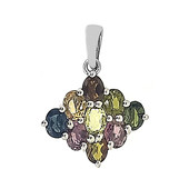 Fancy Tourmaline Silver Pendant