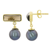10K Smoky Quartz Gold Earrings (M de Luca)