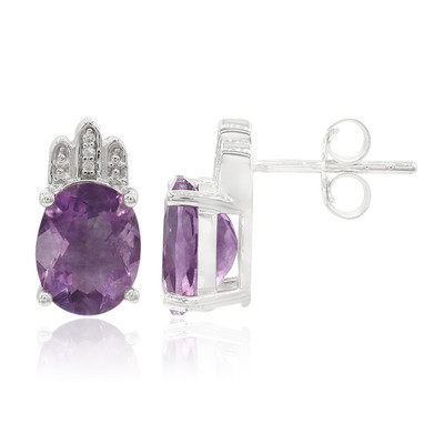 Purple Fluorite Silver Earrings