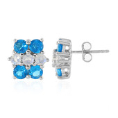 Neon Blue Apatite Silver Earrings