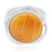 Orange Spiny Oyster Shell Silver Ring