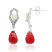 Red Jadeite Silver Earrings