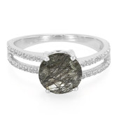 Black Rutile Quartz Silver Ring