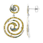 Golden Yellow Diamond Silver Earrings (Cavill)
