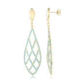 18K Neon Blue Apatite Gold Earrings