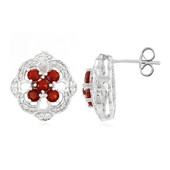 Queretaro Cherry Fire Opal Silver Earrings