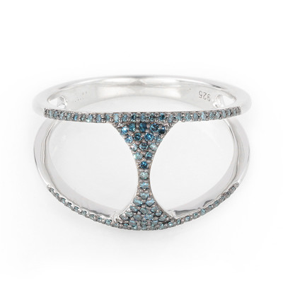 Blue Diamond Silver Ring