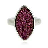 Pink Glitter Agate Silver Ring