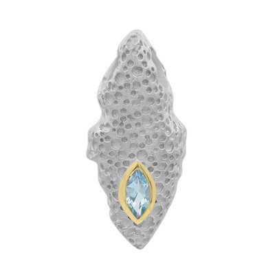 Swiss Blue Topaz Silver Pendant (MONOSONO COLLECTION)