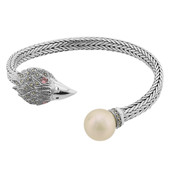 Ming Pearl Silver Bangle (M de Luca)