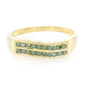 Emerald Green Diamond Silver Ring
