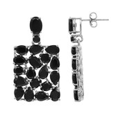 Black Spinel Silver Earrings