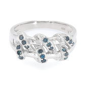 Royal Blue Diamond Silver Ring