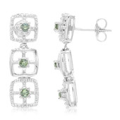 Unheated Green Sapphire Silver Earrings (Cavill)