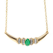 9K Zambian Emerald Gold Necklace