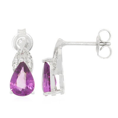 Magenta Garnet Silver Earrings