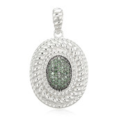 Green Diamond Silver Pendant