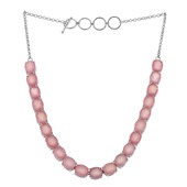Pink Chalcedony Silver Necklace
