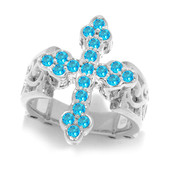 Neon Blue Apatite Silver Ring (Dallas Prince Designs)