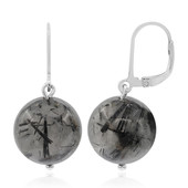 Black Rutile Quartz Silver Earrings
