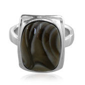 Holy Cross Flint Stone Silver Ring