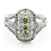 Green Diamond Silver Ring