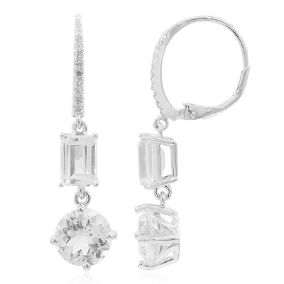 White Topaz Silver Earrings