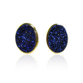 Cobalt Blue Glitter Quartz Silver Earrings