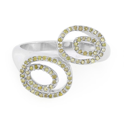 Golden Yellow Diamond Silver Ring