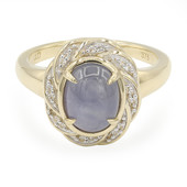 9K Pastel Blue Star Sapphire Gold Ring