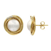 Mabe Pearl Silver Earrings (M de Luca)