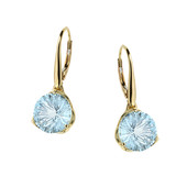 9K Blue Topaz Gold Earrings