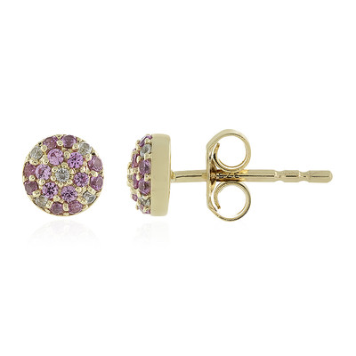 9K Pink Sapphire Gold Earrings