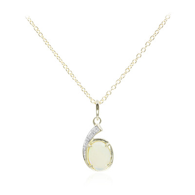 9K White Opal Gold Necklace
