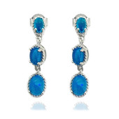 Neon Blue Opal Silver Earrings