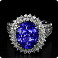 AAA Tanzanite & Diamond 18K White Gold Ring
