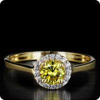 Yellow Diamond & Diamond 18K Yellow Gold Ring