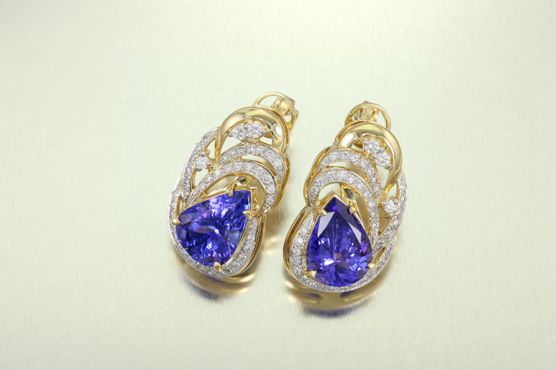AAA Tanzanite gold earrings