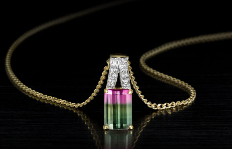 Tourmaline yellow gold necklace