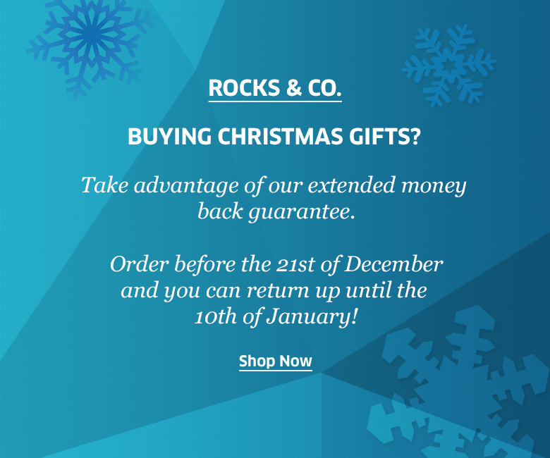 Extended money back guarantee at Rocks & Co.