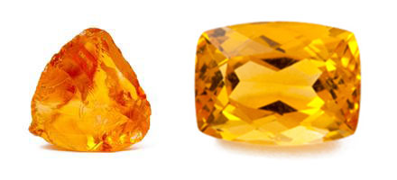 The Tangerine Citrine: the raw crystal and the facetted gem