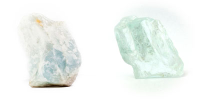 Aquamarine stones rough
