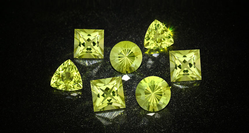 Ouro Verde quartz in different cuts
