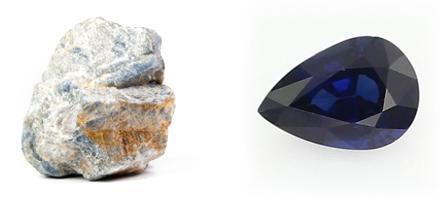 Sapphire - raw crystal and cut gemstone